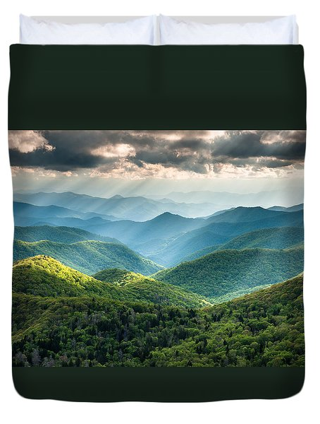 Blue Ridge Southern Appalachian Mountain Light Show Duvet Cover by Mark VanDyke