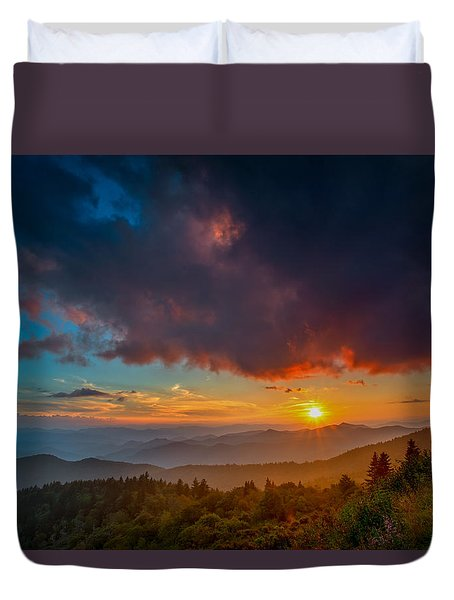 Duvet Cover featuring the photograph Blue Ridge Sunset by Joye Ardyn Durham