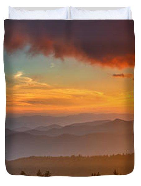 Blue Ridge Sunset Pano Duvet Cover