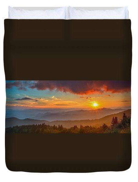 Blue Ridge Sunset Pano Duvet Cover