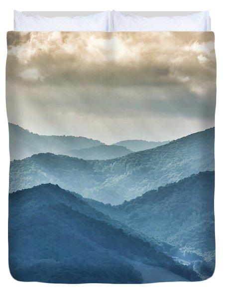 Blue Ridge Sunset Rays Duvet Cover