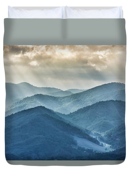 Blue Ridge Sunset Rays Duvet Cover