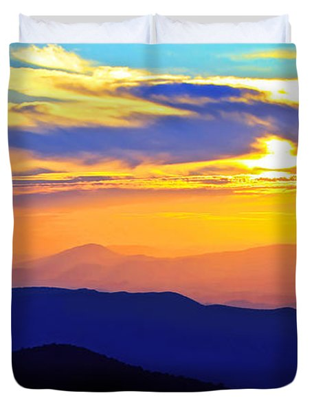 Blue Ridge Sunset, Virginia Duvet Cover by The American Shutterbug Society