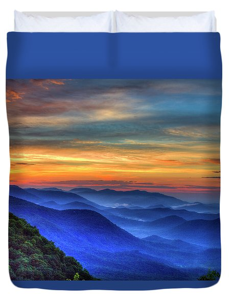 Duvet Cover featuring the photograph Blue Ridges 2 Pretty Place Chapel View Great Smoky Mountains Art by Reid Callaway