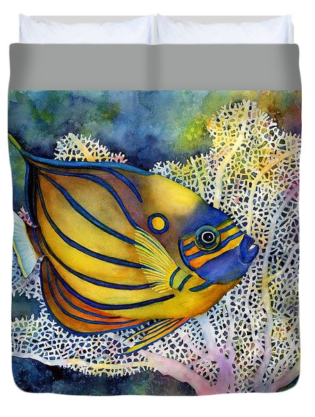 Duvet Cover featuring the painting Blue Ring Angelfish by Hailey E Herrera