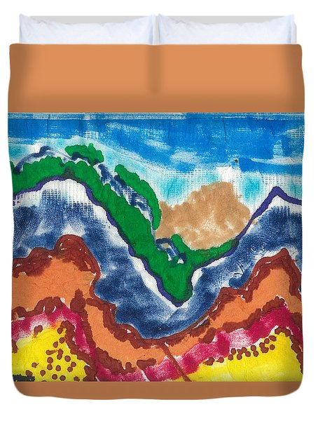 Duvet Cover featuring the drawing Blue Rockies by Don Koester