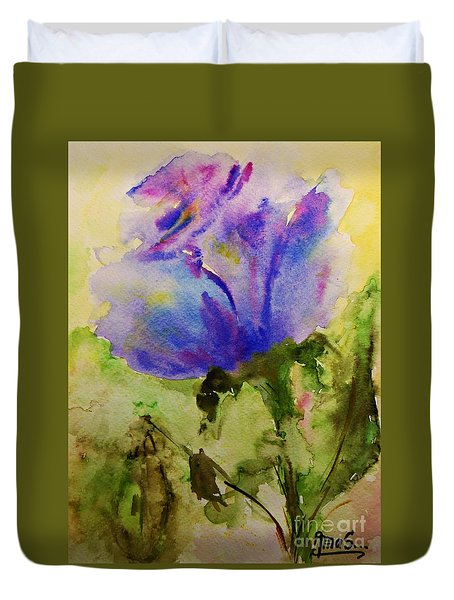 Blue Rose Watercolor Duvet Cover by AmaS Art