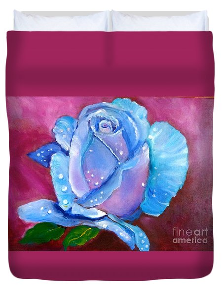 Blue Rose With Dew Drops Duvet Cover by Jenny Lee