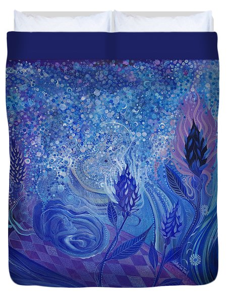 Blue Rosebud Ballroom Duvet Cover by Adria Trail