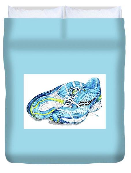 Blue Running Shoes Duvet Cover