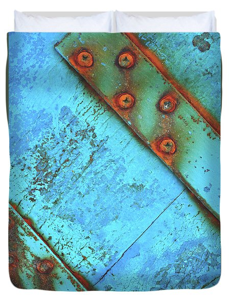 Blue Rusty Boat Detail Duvet Cover by Lyn Randle