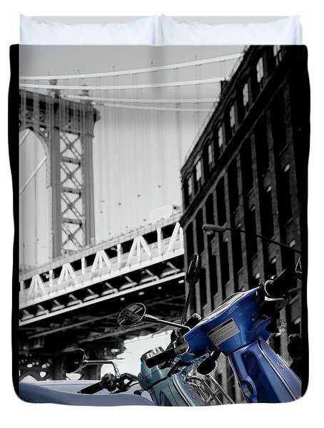 Blue Scooter Duvet Cover