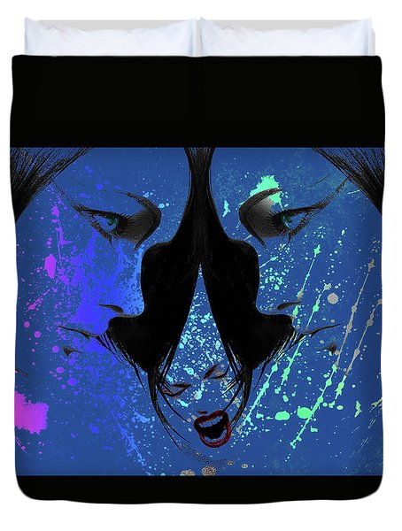 Duvet Cover featuring the digital art Blue Screamer by Greg Sharpe