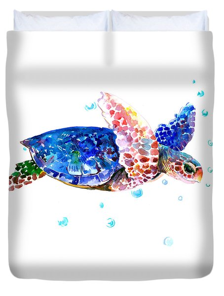 Blue Sea Turtle Duvet Cover