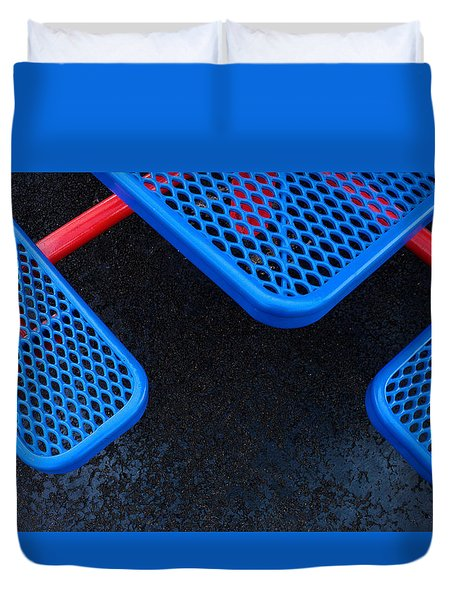 Duvet Cover featuring the photograph Blue Seats And Table Connected By Red by Gary Slawsky