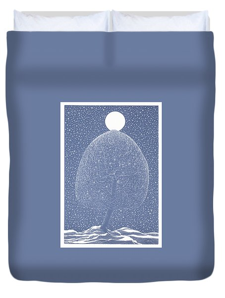 Blue Shadow Tree Duvet Cover
