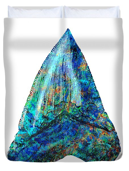 Blue Shark Tooth Art By Sharon Cummings Duvet Cover