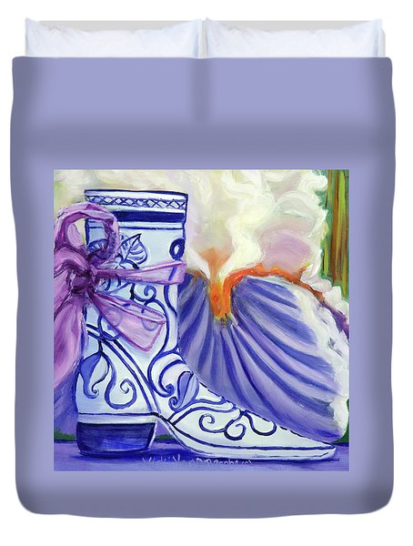 Blue Shoe, Painting Of A Painting Duvet Cover