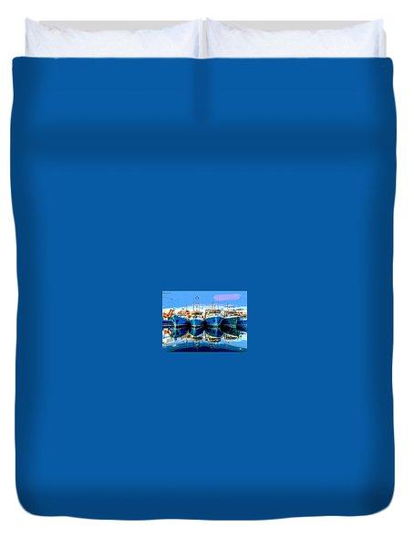 Blue Shrimp Boats Duvet Cover