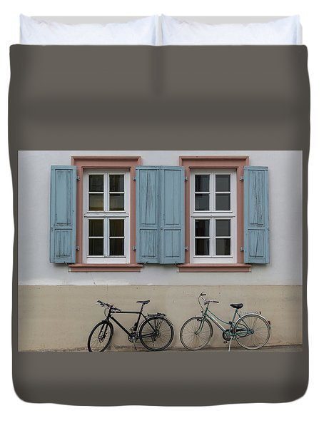 Blue Shutters And Bicycles Duvet Cover