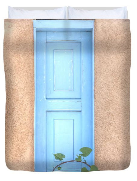Blue Shutters And Chili Peppers Duvet Cover