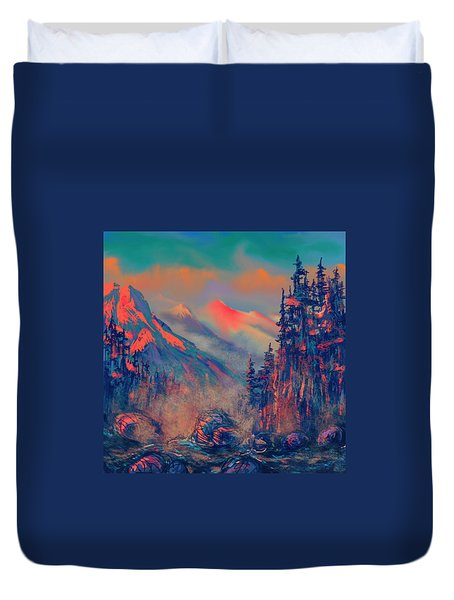 Blue Silence Duvet Cover