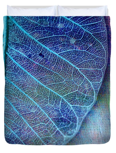 Blue Skeletal Leaf Duvet Cover