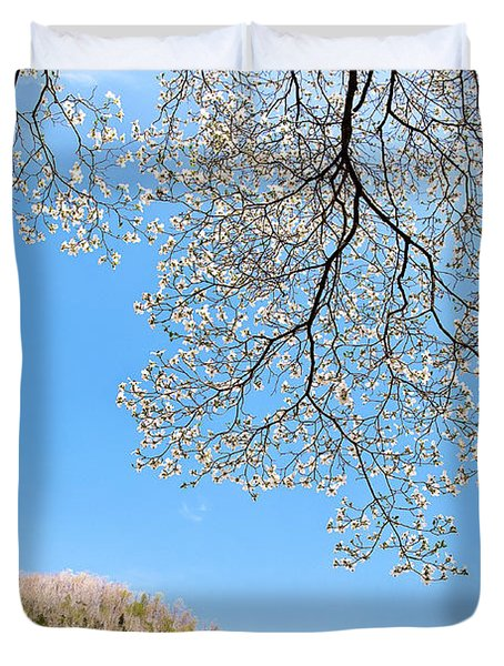 Blue Skies And Dogwood Duvet Cover by Tamyra Ayles