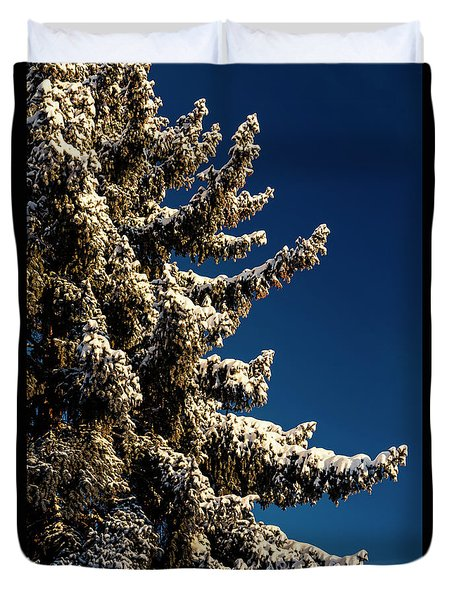 Duvet Cover featuring the photograph Blue Skies And Fresh Fallen Powder by James BO Insogna