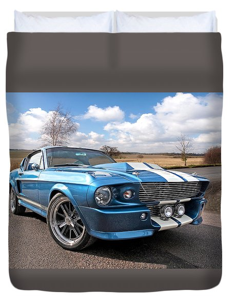 Blue Skies Cruising - 1967 Eleanor Mustang Duvet Cover