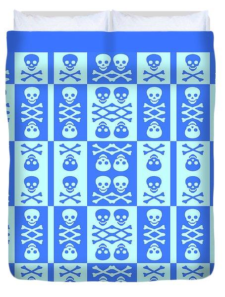 Blue Skull And Crossbones Pattern Duvet Cover by Roseanne Jones