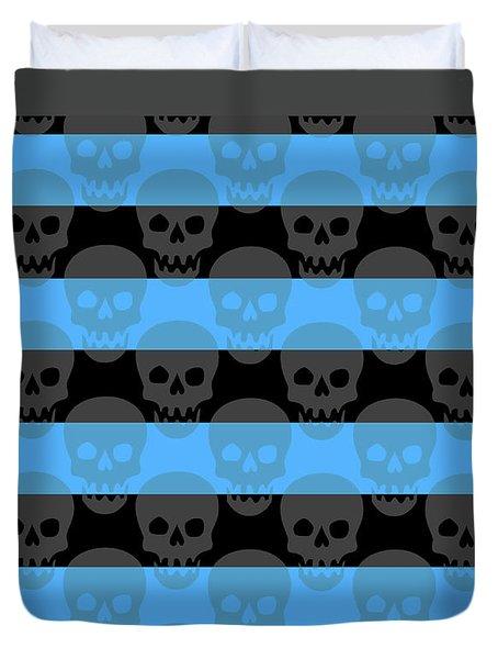 Blue Skull Stripes Duvet Cover by Roseanne Jones