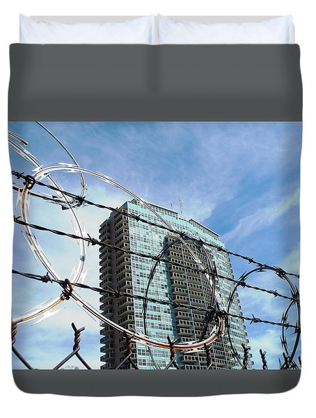 Blue Sky And Barbed Wire Duvet Cover