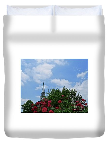 Blue Sky And Roses Duvet Cover by Nancy Patterson