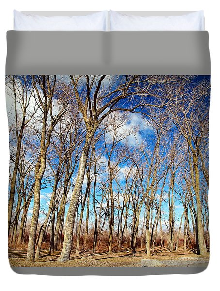 Duvet Cover featuring the photograph Blue Sky And Trees by Valentino Visentini
