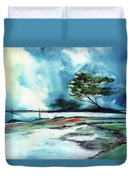 Duvet Cover featuring the painting Blue Sky by Anil Nene