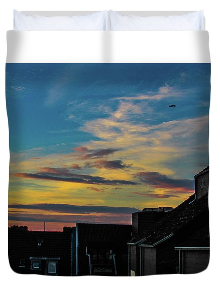 Blue Sky Colorful Sunset Duvet Cover by Cesar Vieira