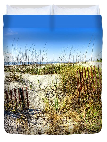 Duvet Cover featuring the photograph Blue Sky Dunes by Debra and Dave Vanderlaan