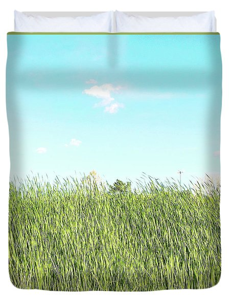 Duvet Cover featuring the photograph Blue Sky Over Green Grass by Cindy Garber Iverson