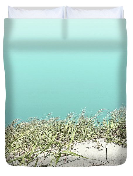 Duvet Cover featuring the photograph Blue Sky Over Sea Grass by Cindy Garber Iverson