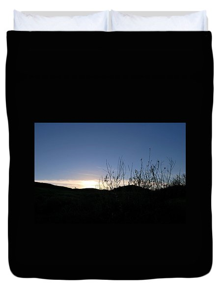 Duvet Cover featuring the photograph Blue Sky Silhouette Landscape by Matt Harang