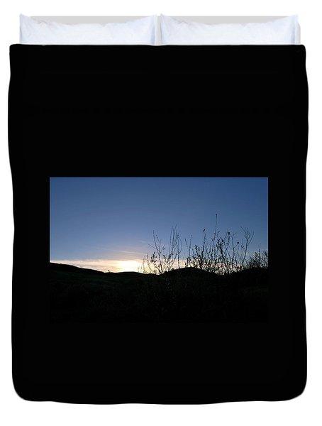 Blue Sky Silhouette Landscape Duvet Cover