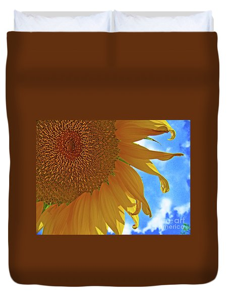 Blue Sky Sunflower Duvet Cover