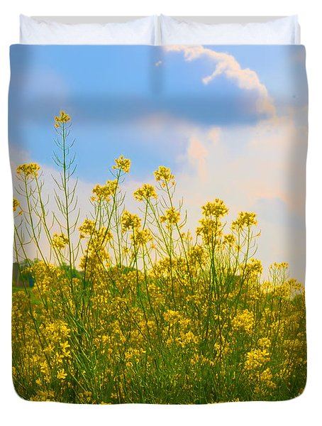Blue Sky Yellow Flowers Duvet Cover by Bill Cannon