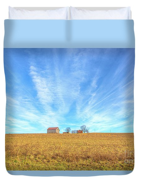Duvet Cover featuring the digital art Blue Skys And Yellow Fields by Randy Steele