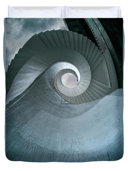 Duvet Cover featuring the photograph Blue Spiral Stairs by Jaroslaw Blaminsky