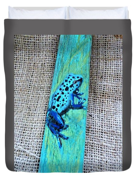 Blue-spotted Tree Frog Duvet Cover