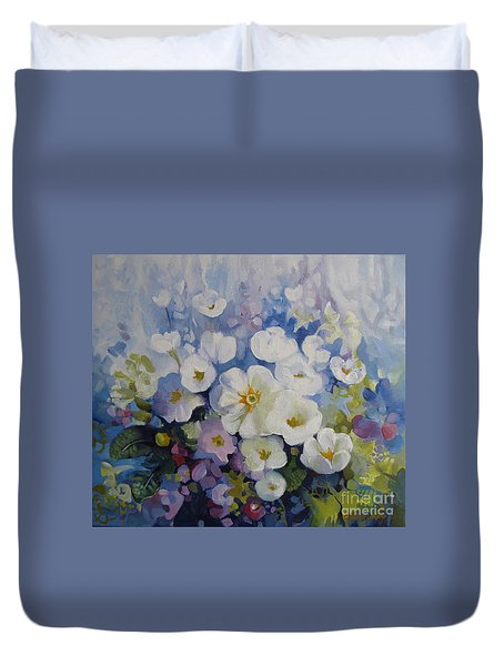 Duvet Cover featuring the painting Blue Spring by Elena Oleniuc