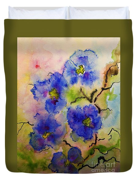 Blue Spring Flowers Watercolor Duvet Cover by AmaS Art