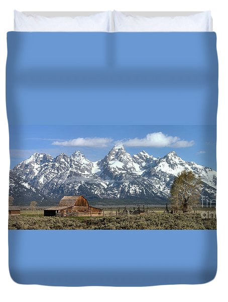Blue Spring Skies Over Mormon Row Duvet Cover by Adam Jewell